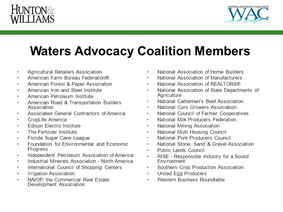 Deidre Duncan Partner, Hunton & Williams LLP Counsel to Waters Advocacy Coalition