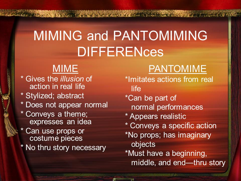 MIMING and PANTOMIMING DIFFERENces MIME * Gives the illusion of action in real life * Stylized; abstract * Does not appear normal * Conveys a theme; e
