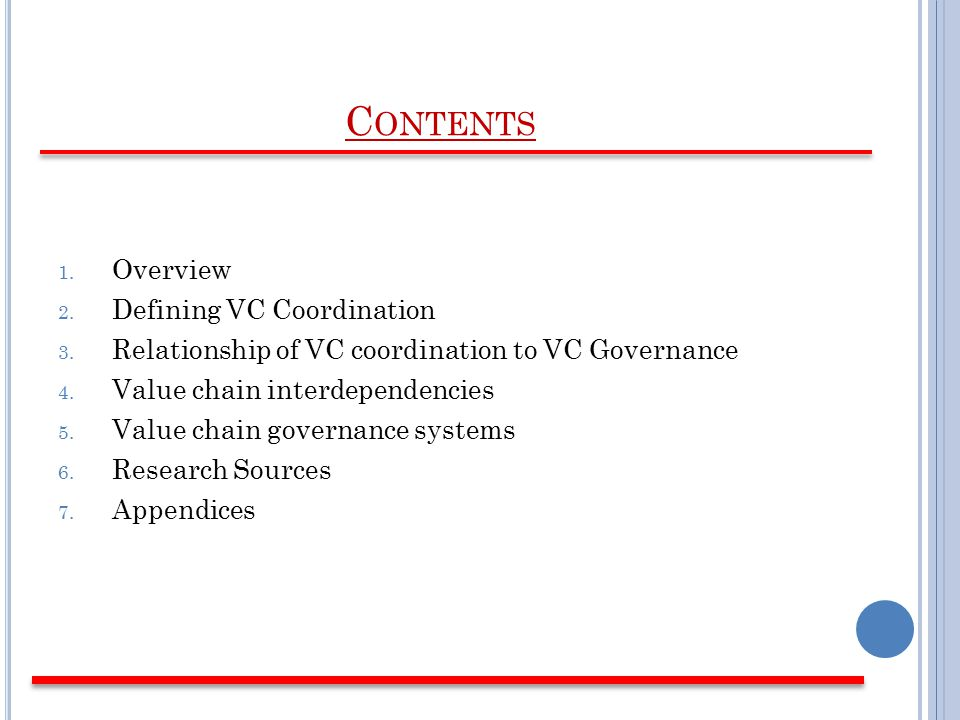 C ONTENTS 1. Overview 2. Defining VC Coordination 3.