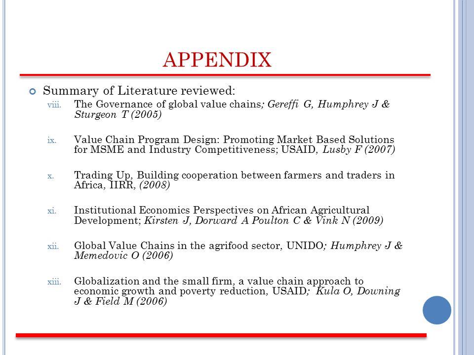 APPENDIX Summary of Literature reviewed: viii.