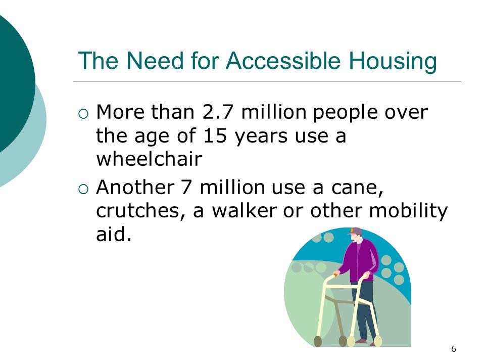 The Need for Accessible Housing  More than 2.7 million people over the age of 15 years use a wheelchair  Another 7 million use a cane, crutches, a walker or other mobility aid.
