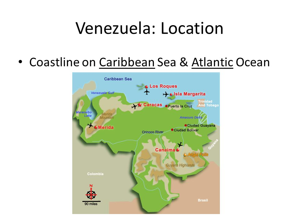 Venezuela: Location Coastline on Caribbean Sea & Atlantic Ocean
