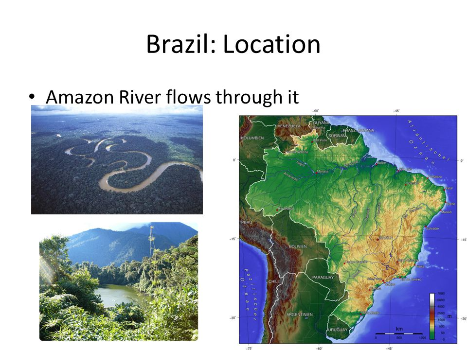 Brazil: Location Amazon River flows through it