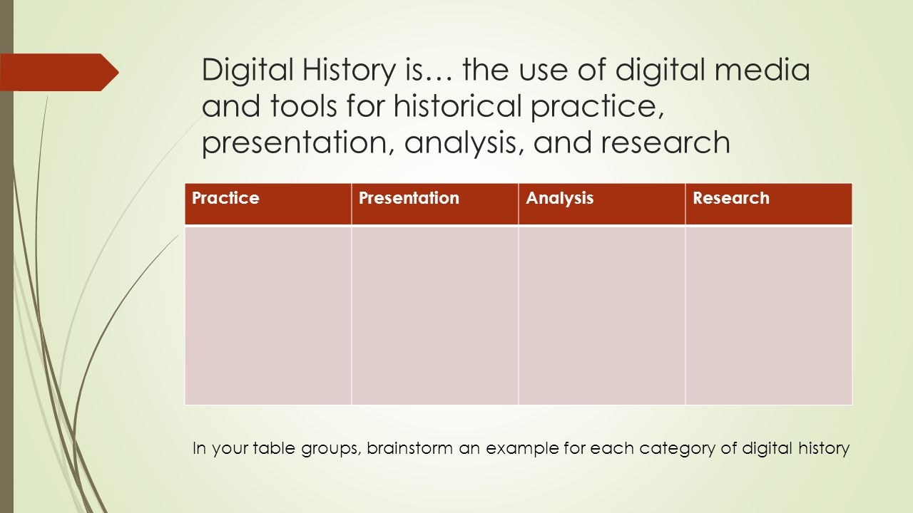 Digital History is… the use of digital media and tools for historical practice, presentation, analysis, and research PracticePresentationAnalysisResea
