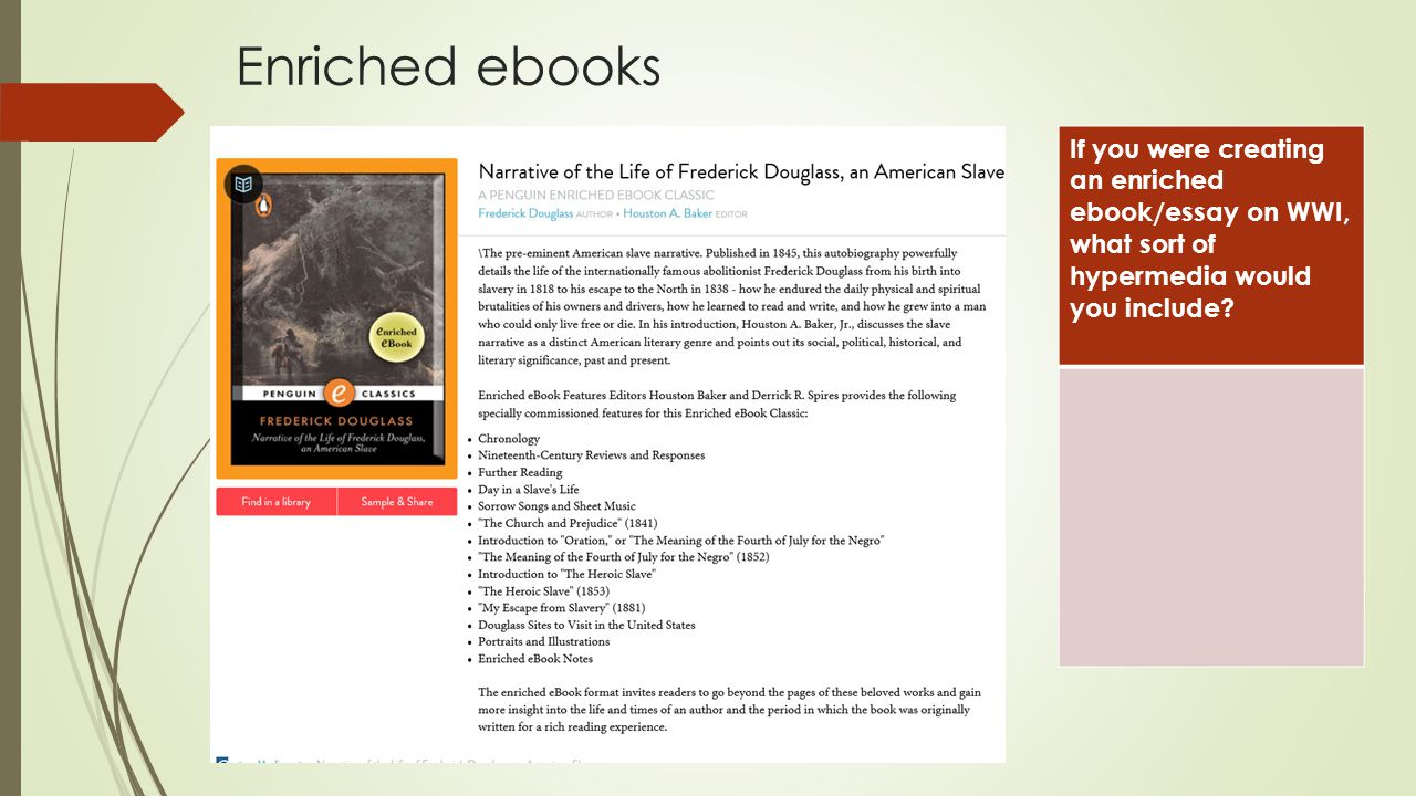 Enriched ebooks If you were creating an enriched ebook/essay on WWI, what sort of hypermedia would you include?