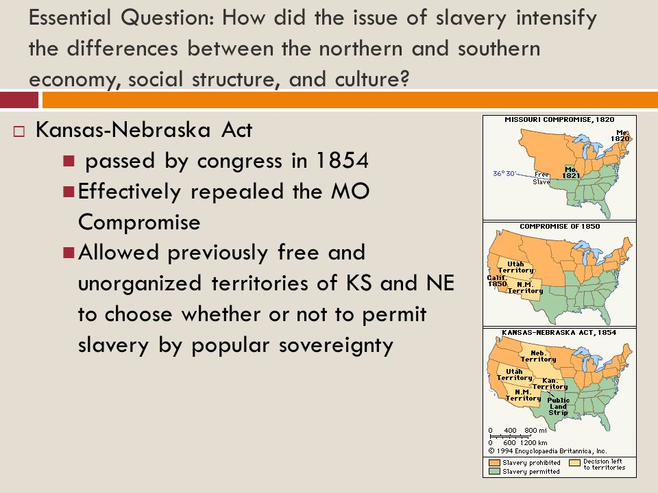 Essential Question: How did the issue of slavery intensify the differences between the northern and southern economy, social structure, and culture.