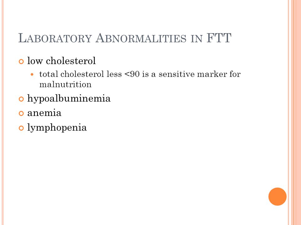 L ABORATORY A BNORMALITIES IN FTT low cholesterol total cholesterol less <90 is a sensitive marker for malnutrition hypoalbuminemia anemia lymphopenia