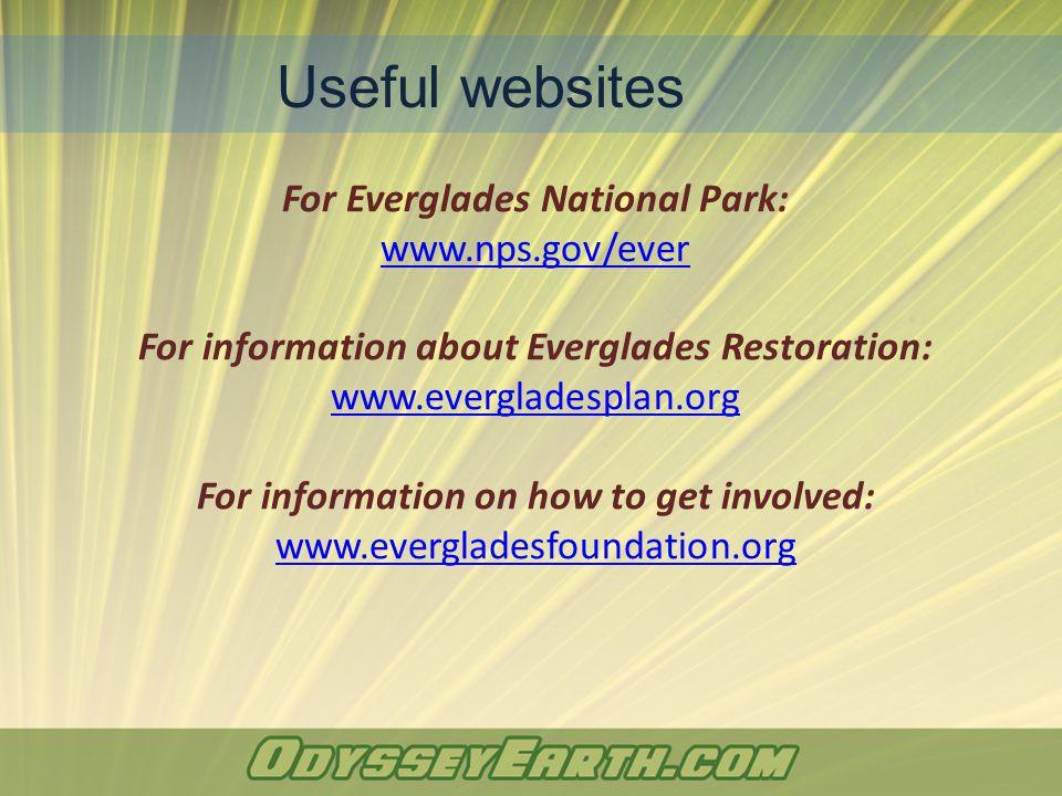 For Everglades National Park: www.nps.gov/ever For information about Everglades Restoration: www.evergladesplan.org For information on how to get invo