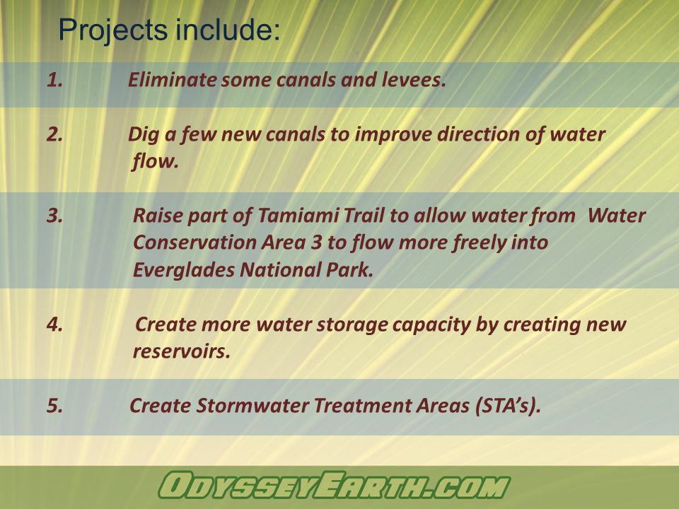 1.Eliminate some canals and levees. 2. Dig a few new canals to improve direction of water flow.