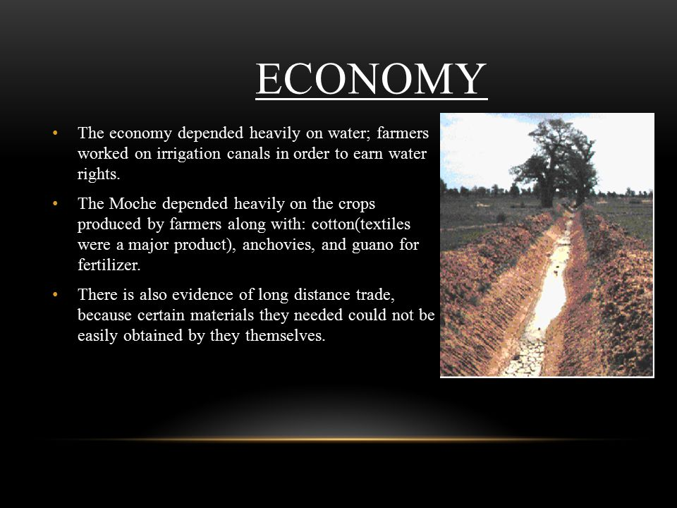 ECONOMY The economy depended heavily on water; farmers worked on irrigation canals in order to earn water rights.