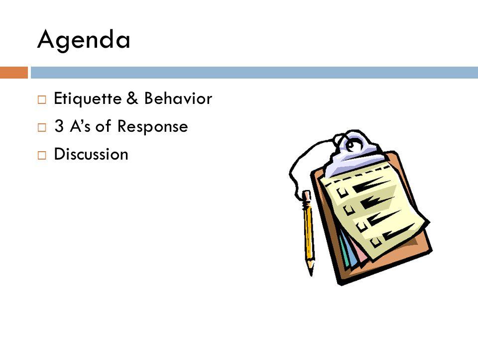 Agenda  Etiquette & Behavior  3 A's of Response  Discussion