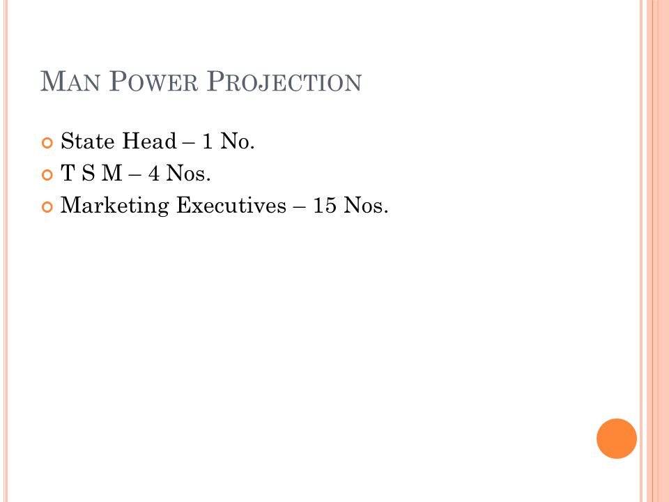 M AN P OWER P ROJECTION State Head – 1 No. T S M – 4 Nos. Marketing Executives – 15 Nos.
