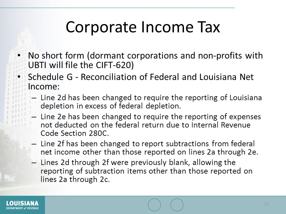 Corporate Income Tax No short form (dormant corporations and non-profits with UBTI will file the CIFT-620) Schedule G - Reconciliation of Federal and