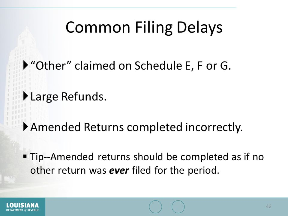 """Common Filing Delays  """"Other"""" claimed on Schedule E, F or G.  Large Refunds.  Amended Returns completed incorrectly.  Tip--Amended returns should"""