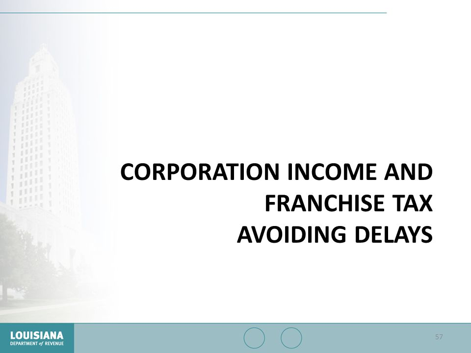CORPORATION INCOME AND FRANCHISE TAX AVOIDING DELAYS 57