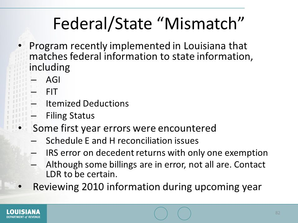 """Federal/State """"Mismatch"""" Program recently implemented in Louisiana that matches federal information to state information, including – AGI – FIT – Item"""