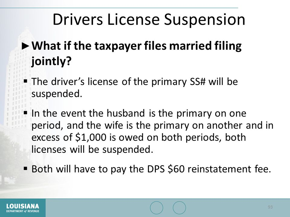 Drivers License Suspension ▶ What if the taxpayer files married filing jointly?  The driver's license of the primary SS# will be suspended.  In the