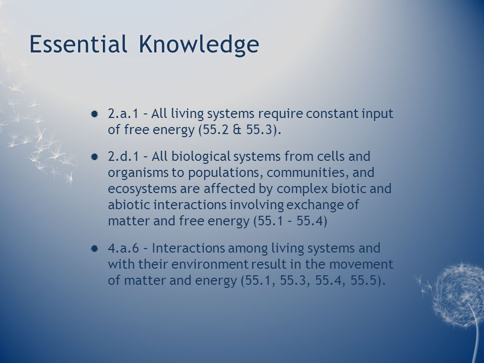 Essential KnowledgeEssential Knowledge  2.a.1 – All living systems require constant input of free energy (55.2 & 55.3).