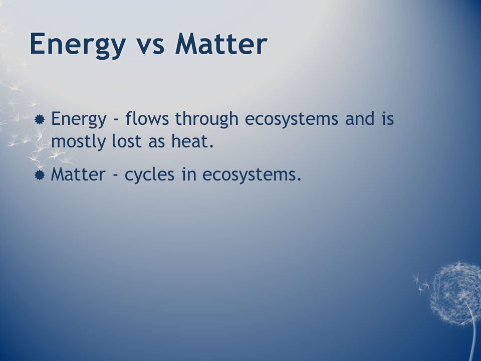 Energy vs MatterEnergy vs Matter  Energy - flows through ecosystems and is mostly lost as heat.