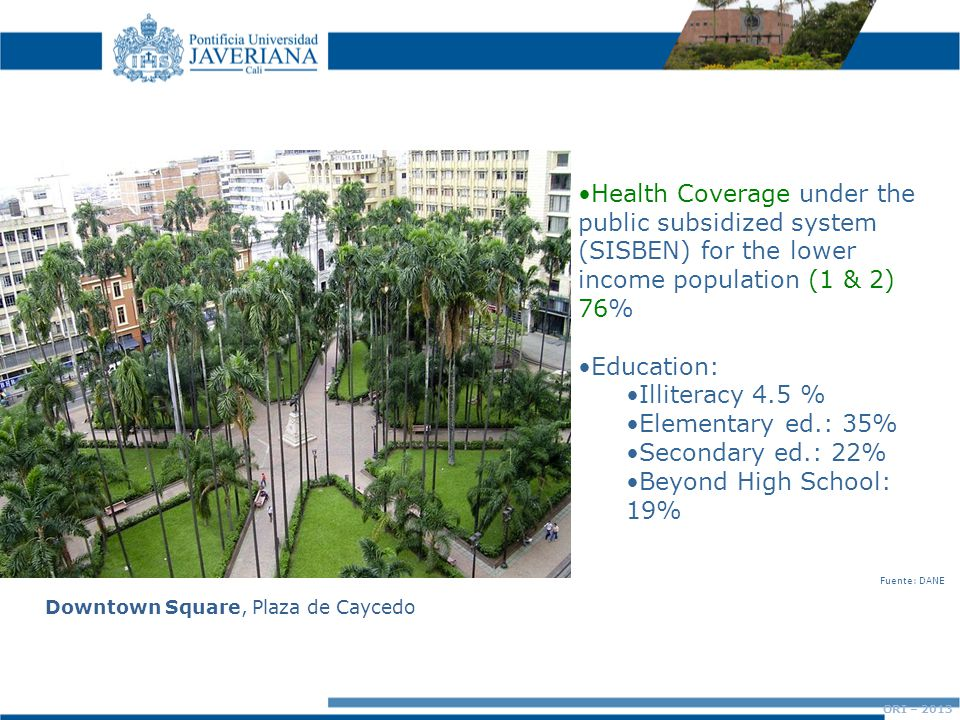 Downtown Square, Plaza de Caycedo Health Coverage under the public subsidized system (SISBEN) for the lower income population (1 & 2) 76% Education: Illiteracy 4.5 % Elementary ed.: 35% Secondary ed.: 22% Beyond High School: 19% ORI – 2013 Fuente: DANE