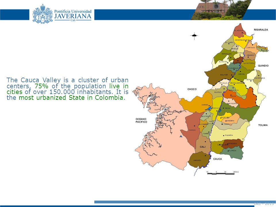 The Cauca Valley is a cluster of urban centers, 75% of the population live in cities of over 150.000 inhabitants.