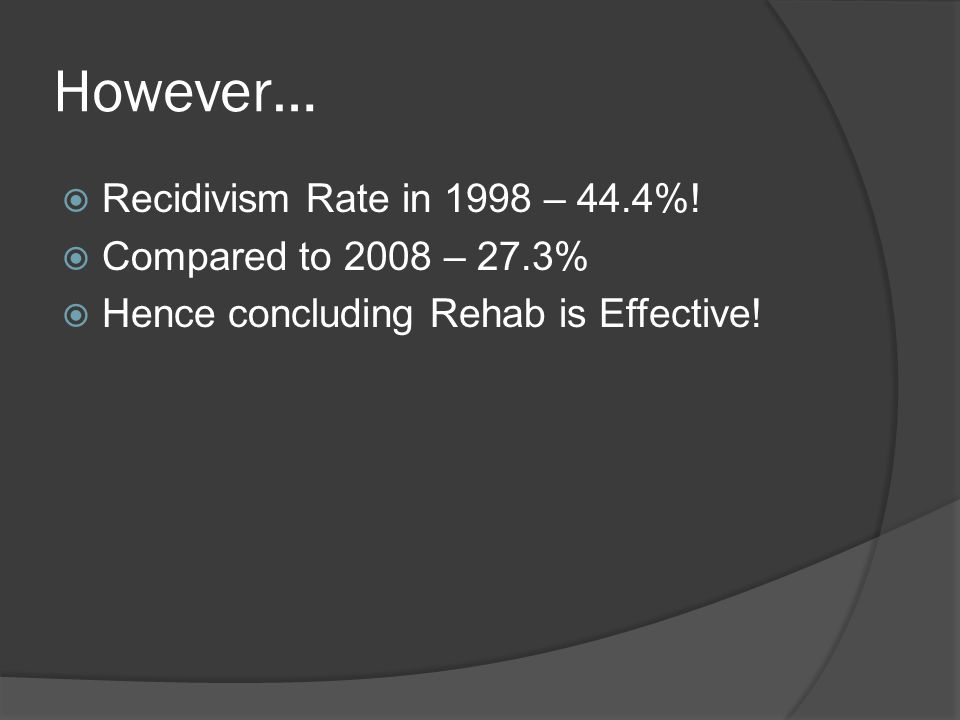 However…  Recidivism Rate in 1998 – 44.4%!  Compared to 2008 – 27.3%  Hence concluding Rehab is Effective!
