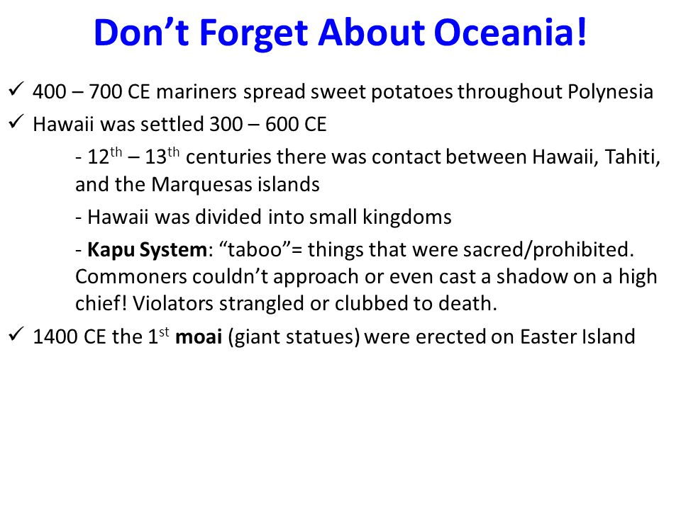 Don't Forget About Oceania.