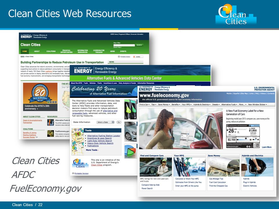 Clean Cities / 22 Clean Cities Web Resources Clean Cities AFDC FuelEconomy.gov