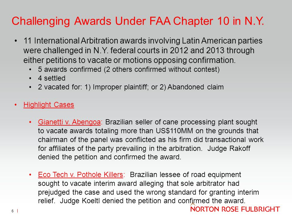 Enforcing Foreign Awards Under FAA Chapter 2 in N.Y.