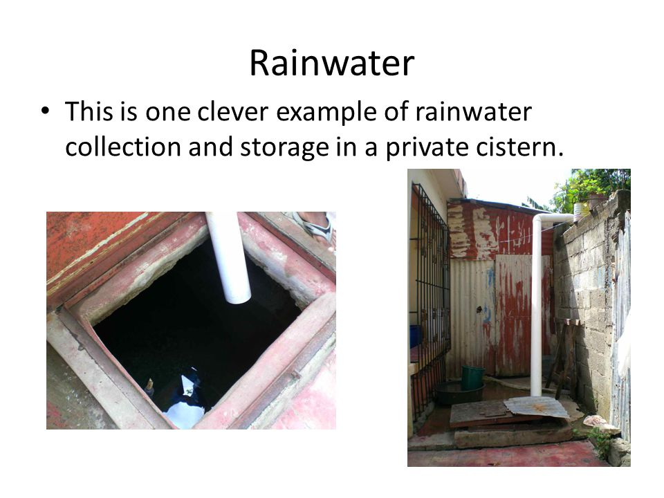Rainwater This is one clever example of rainwater collection and storage in a private cistern.