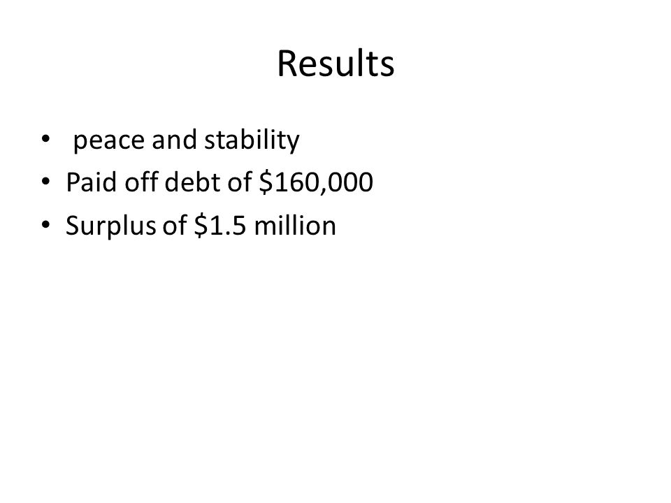 Results peace and stability Paid off debt of $160,000 Surplus of $1.5 million