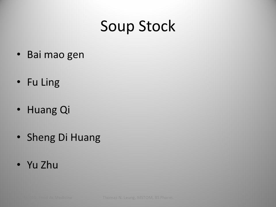 Soup Stock Bai mao gen Fu Ling Huang Qi Sheng Di Huang Yu Zhu 1/24/2010 Food As MedicineThomas N. Leung, MSTOM, BS Pharm.