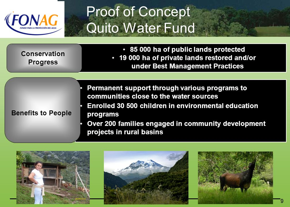 10 Steps to establish a Water Fund Pre- feasibility and Evaluatio n Which ecosystem services.