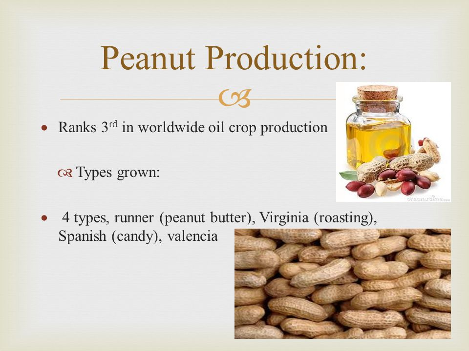   Ranks 3 rd in worldwide oil crop production  Types grown:  4 types, runner (peanut butter), Virginia (roasting), Spanish (candy), valencia Peanut Production: