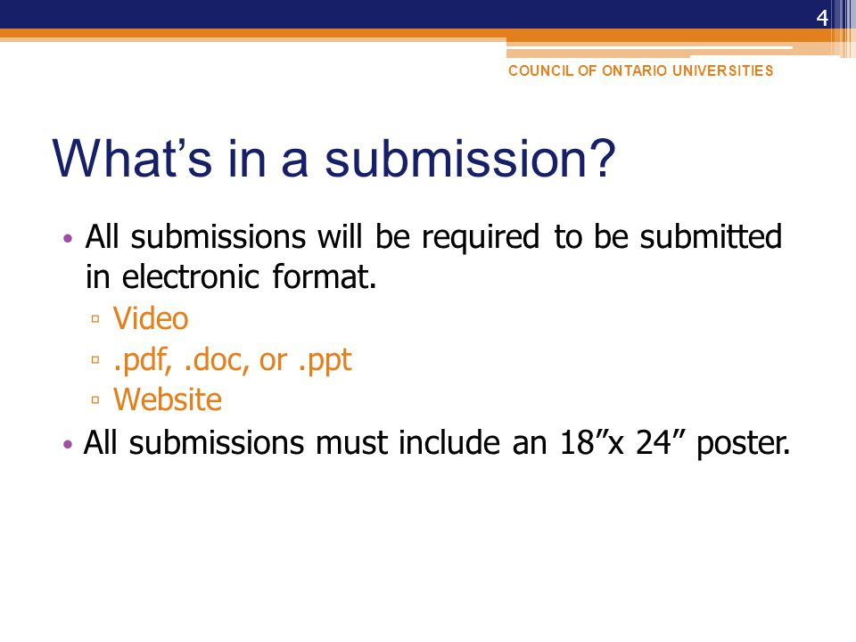 What's in a submission. All submissions will be required to be submitted in electronic format.