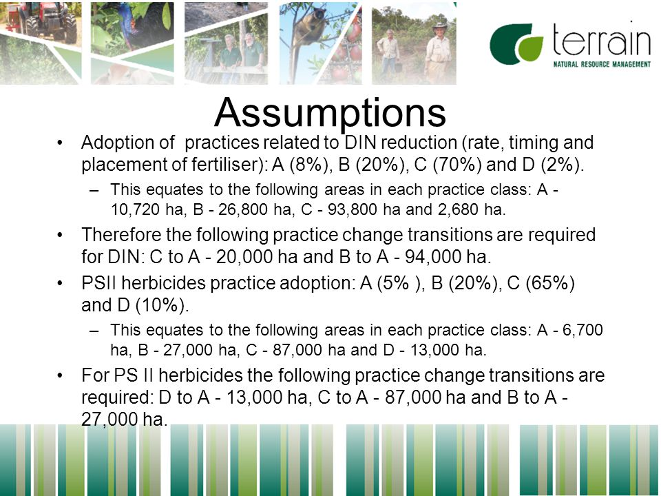 34 Assumptions Adoption of practices related to DIN reduction (rate, timing and placement of fertiliser): A (8%), B (20%), C (70%) and D (2%).