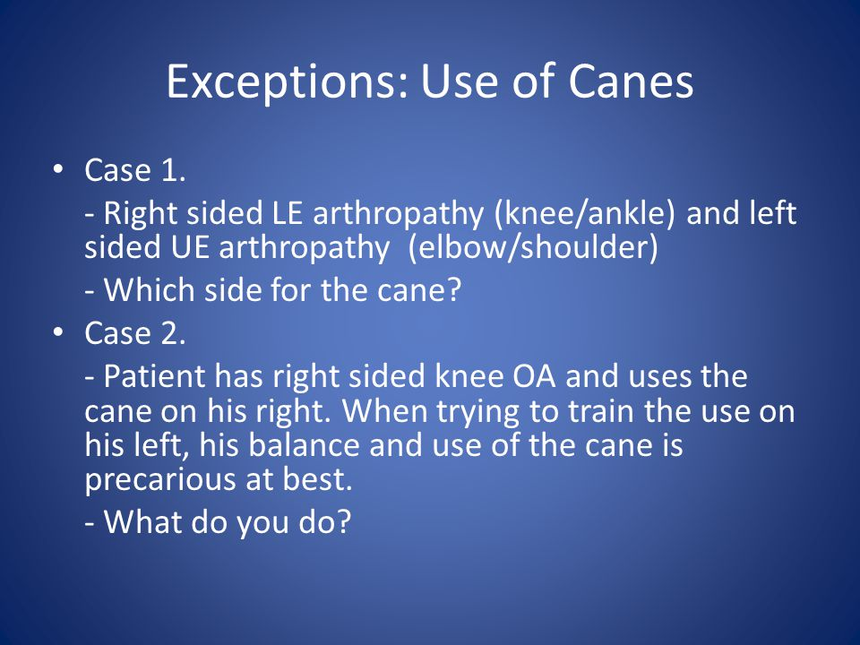 Exceptions: Use of Canes Case 1.