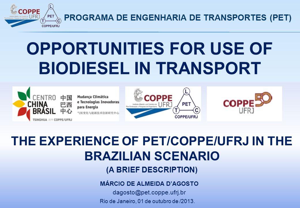 OPPORTUNITIES FOR USE OF BIODIESEL IN TRANSPORT Rio de Janeiro, 01 de outubro de /2013. MÁRCIO DE ALMEIDA D'AGOSTO dagosto@pet.coppe.ufrj.br PROGRAMA