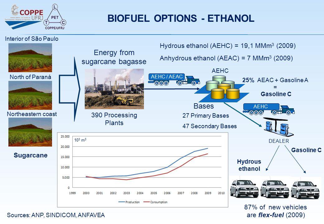 390 Processing Plants Bases AEHC 25% AEAC + Gasoline A = Gasoline C AEHC / AEAC DEALER AEHC Hydrous ethanol (AEHC) = 19,1 MMm 3 (2009) Anhydrous ethanol (AEAC) = 7 MMm 3 (2009) 27 Primary Bases 47 Secondary Bases Energy from sugarcane bagasse 87% of new vehicles are flex-fuel (2009) Northeastern coast Sugarcane Sources: ANP, SINDICOM, ANFAVEA BIOFUEL OPTIONS - ETHANOL Hydrous ethanol Gasoline C North of Paraná Interior of São Paulo 10 3 m 3