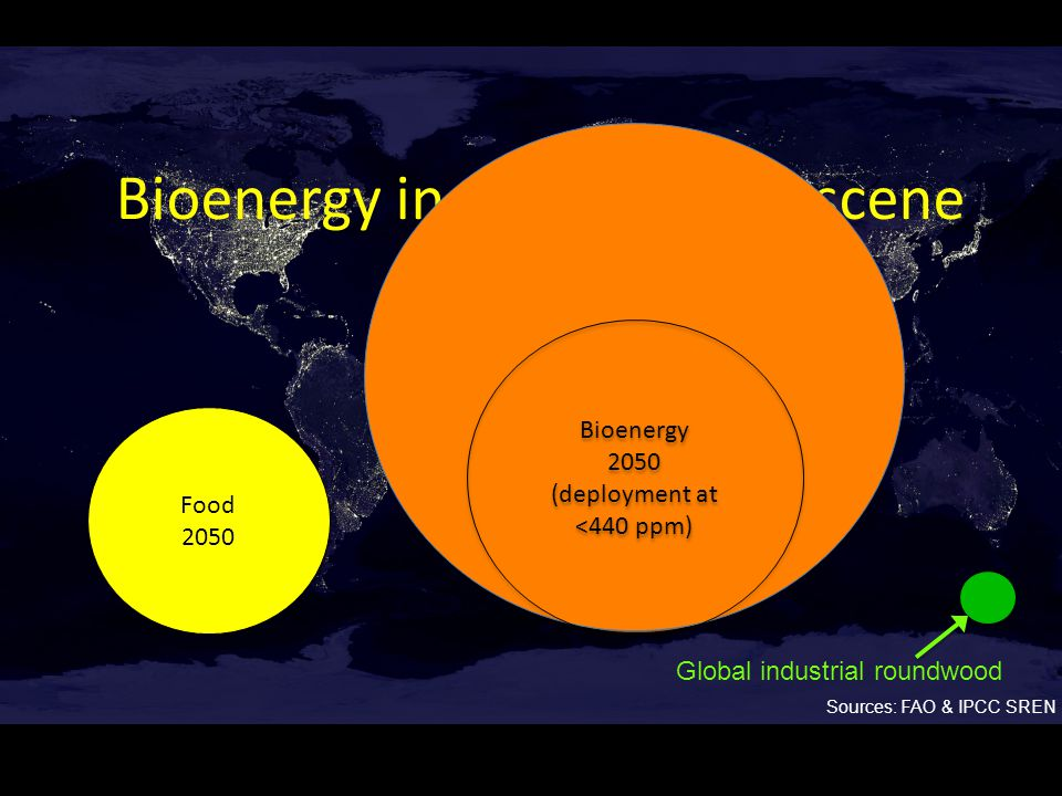 Bioenergy in the Anthroposcene Food 2050 Food 2050 Sources: FAO & IPCC SREN Bioenergy 2050 (deployment at 440-600 ppm) Bioenergy 2050 (deployment at 440-600 ppm) Bioenergy 2050 (deployment at <440 ppm) Bioenergy 2050 (deployment at <440 ppm) Global industrial roundwood