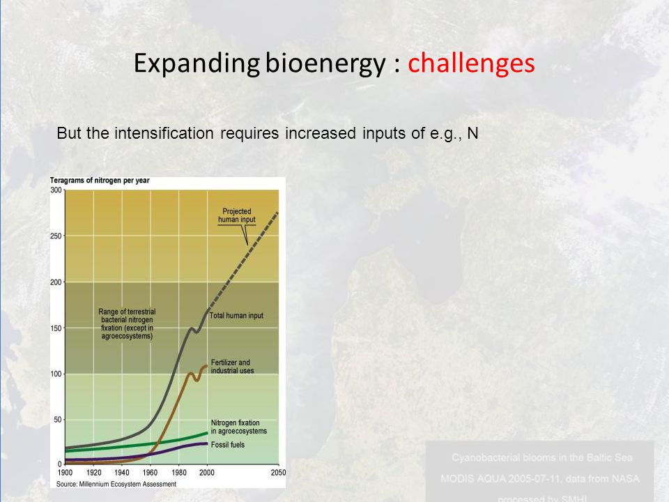 But the intensification requires increased inputs of e.g., N Expanding bioenergy : challenges