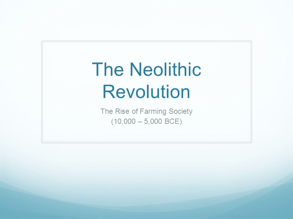 The Neolithic Revolution The Rise of Farming Society (10,000 – 5,000 BCE)