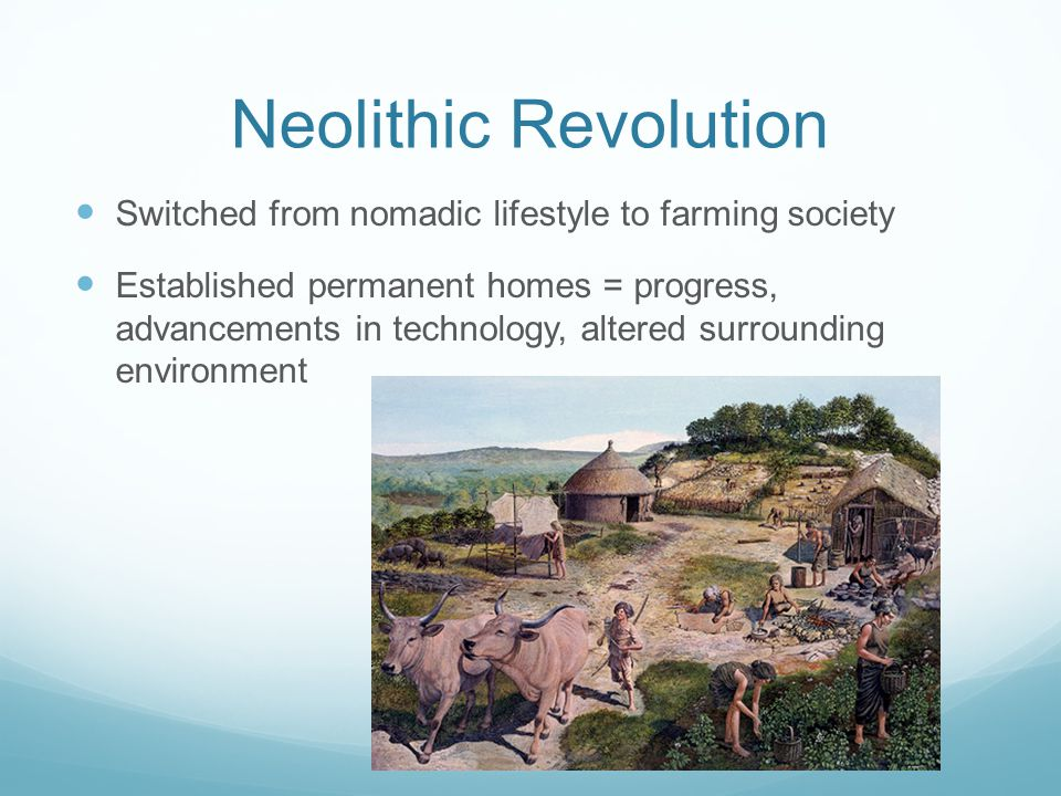Neolithic Revolution Switched from nomadic lifestyle to farming society Established permanent homes = progress, advancements in technology, altered surrounding environment