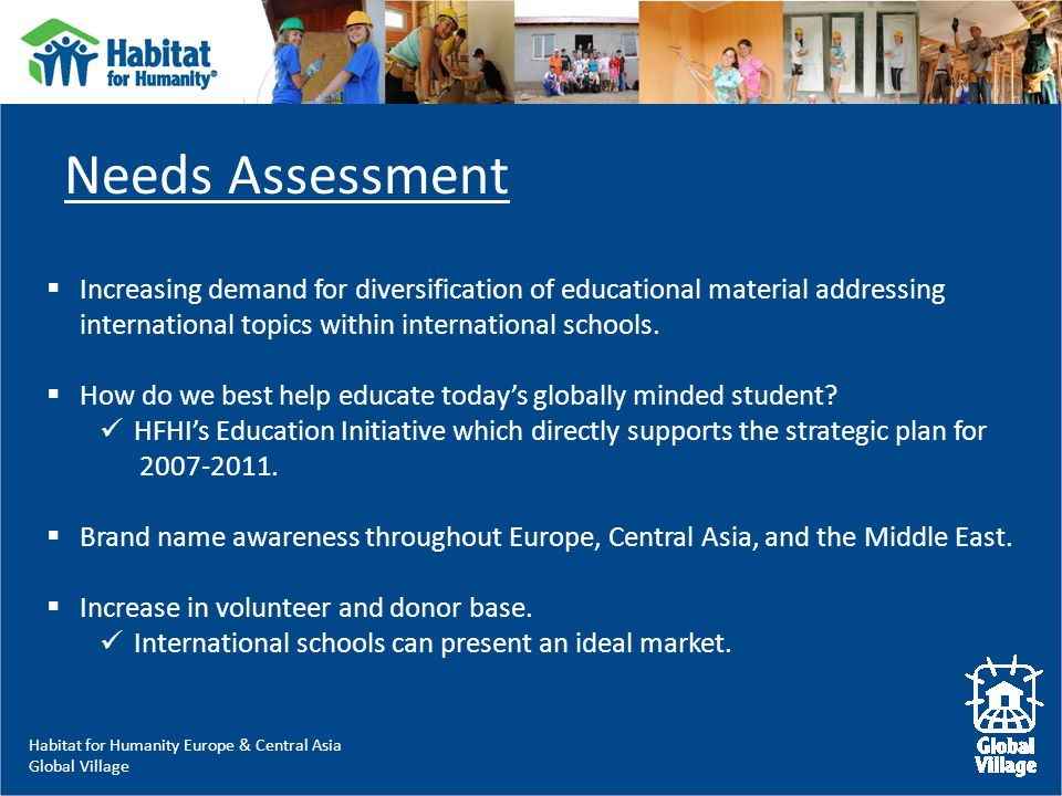 Habitat for Humanity Europe & Central Asia Global Village  Increasing demand for diversification of educational material addressing international topics within international schools.