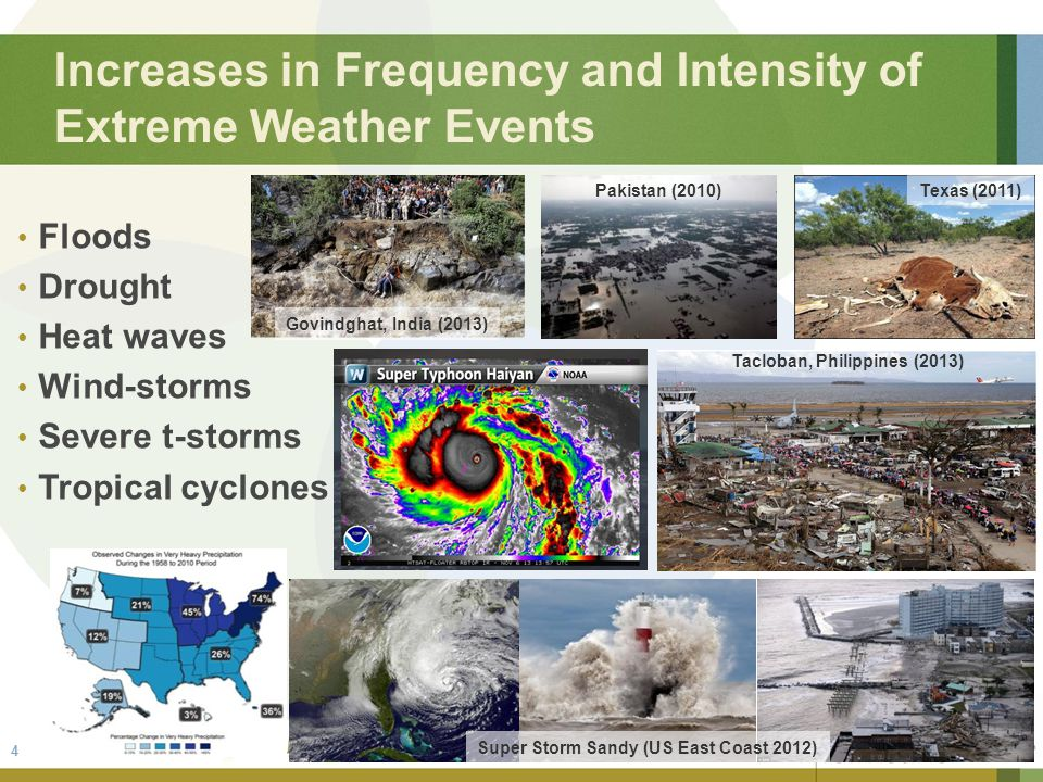 Increases in Frequency and Intensity of Extreme Weather Events Floods Drought Heat waves Wind-storms Severe t-storms Tropical cyclones Super Storm Sandy (US East Coast 2012) Govindghat, India (2013) Pakistan (2010)Texas (2011) 4 Tacloban, Philippines (2013)