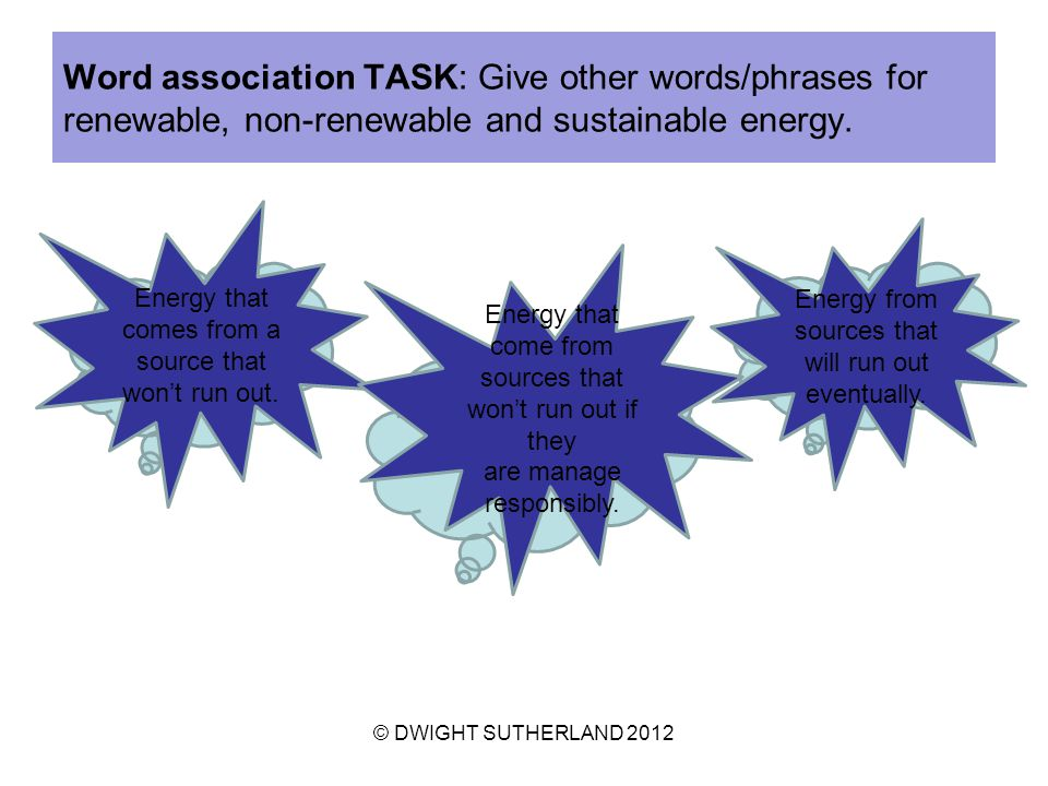 Word association TASK: Give other words/phrases for renewable, non-renewable and sustainable energy.