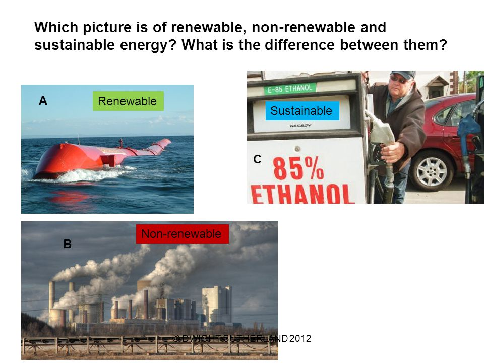 Which picture is of renewable, non-renewable and sustainable energy.
