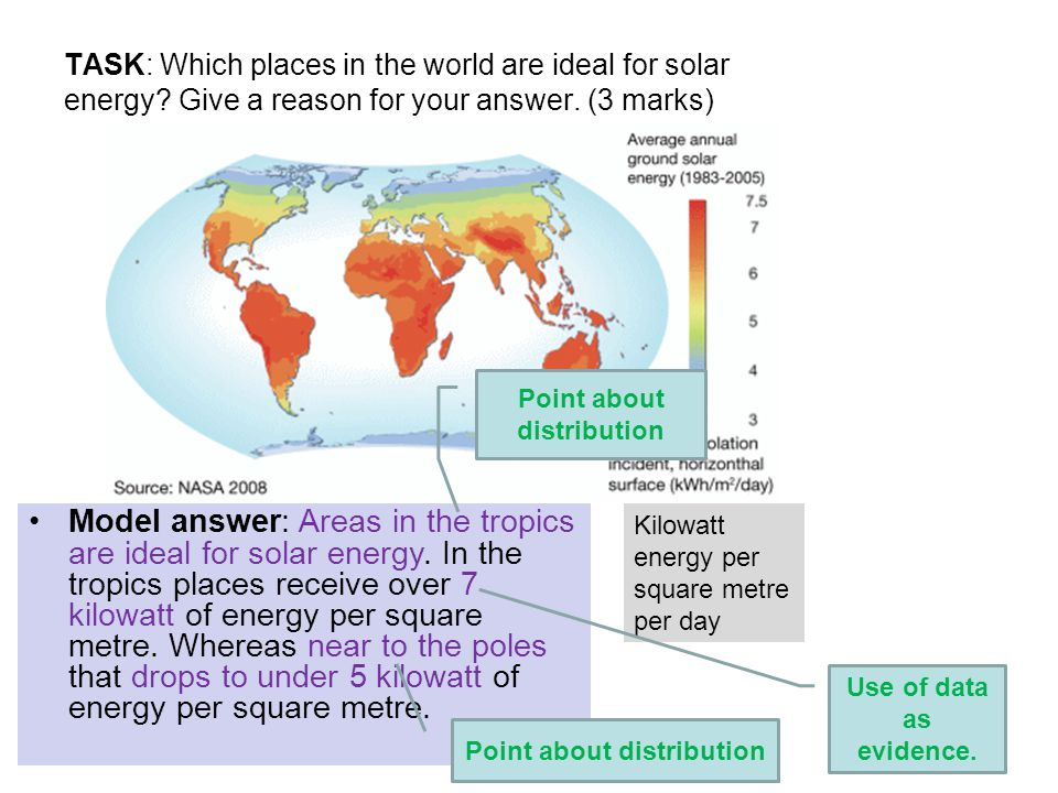 TASK: Which places in the world are ideal for solar energy.