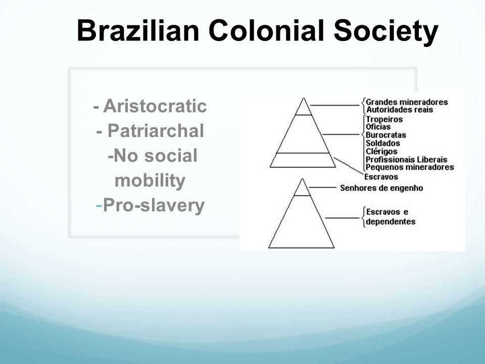 Brazilian Colonial Society - Aristocratic - Patriarchal -No social mobility - Pro-slavery