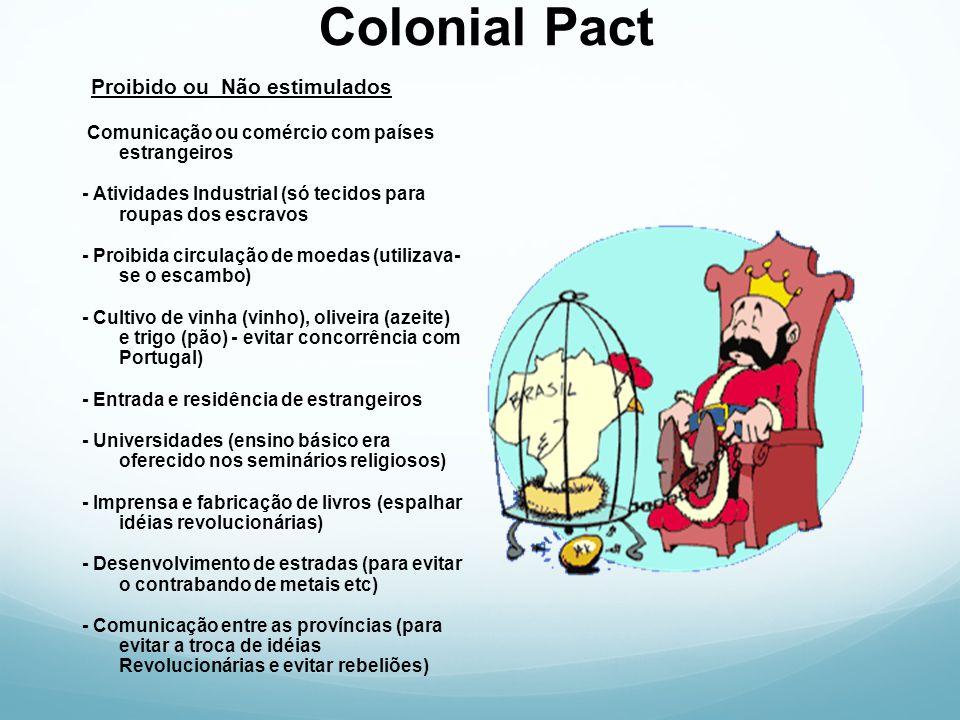 Colonial Pact Proibido ou Não estimulados Comunicação ou comércio com países estrangeiros - Atividades Industrial (só tecidos para roupas dos escravos